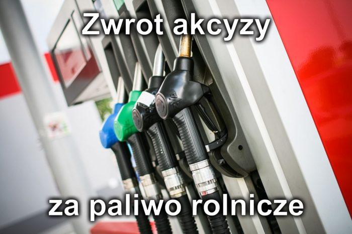"""W tle dystrybutor paliw, napis """"Zwrot akcyzy za paliwo rolnicze"""""""