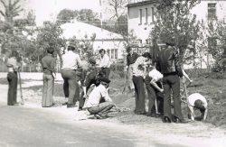 Czyn partyjny - PGR Suchawa i GS w Wyrykach przy wykonaniu pobocza szosy przed budynkiem Urzędu Gminy - maj 1978 r.