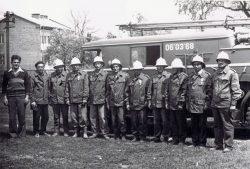 Uroczysta zbiórka jednostki OSP Wyryki po wykonaniu czynów społecznych - 20.05.1978 r.