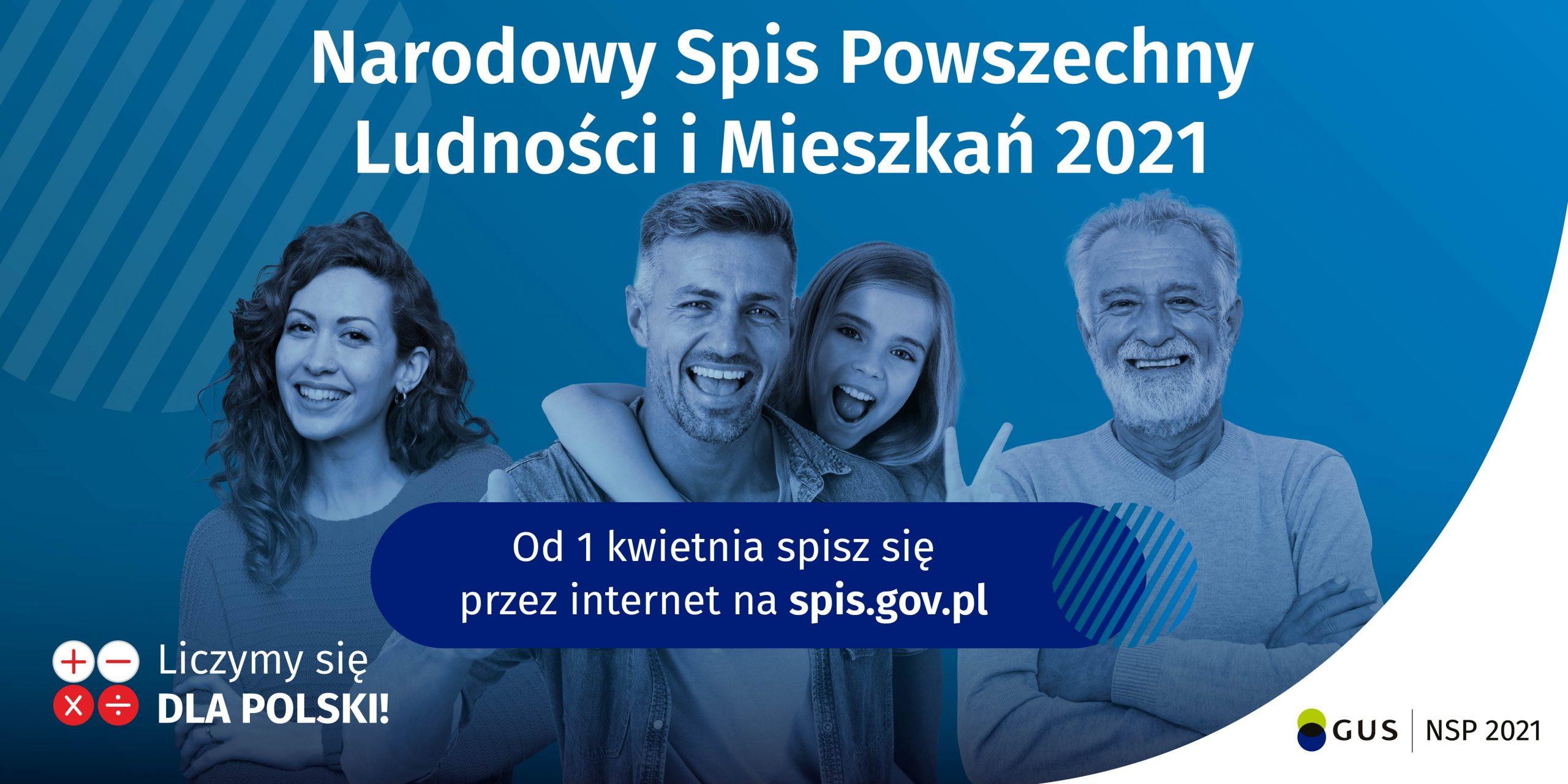 """Banner informacyjny o Narodowym Spisie Powszechnym, osoby na niebieskim tle, napis """"wejdź na spis.gov.pl i spisz się! Spis trwa od 1 kwietnia 2021 r."""""""