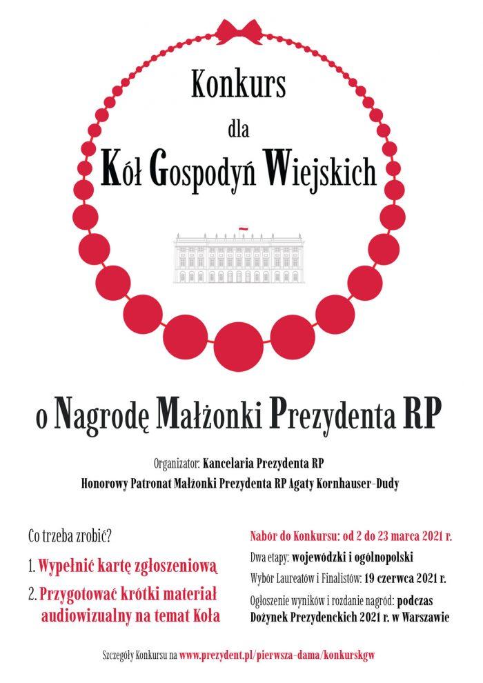 Plakat Konkurs dla Kół Gospodyń Wiejskich o Nagrodę Małżonki Prezydenta RP