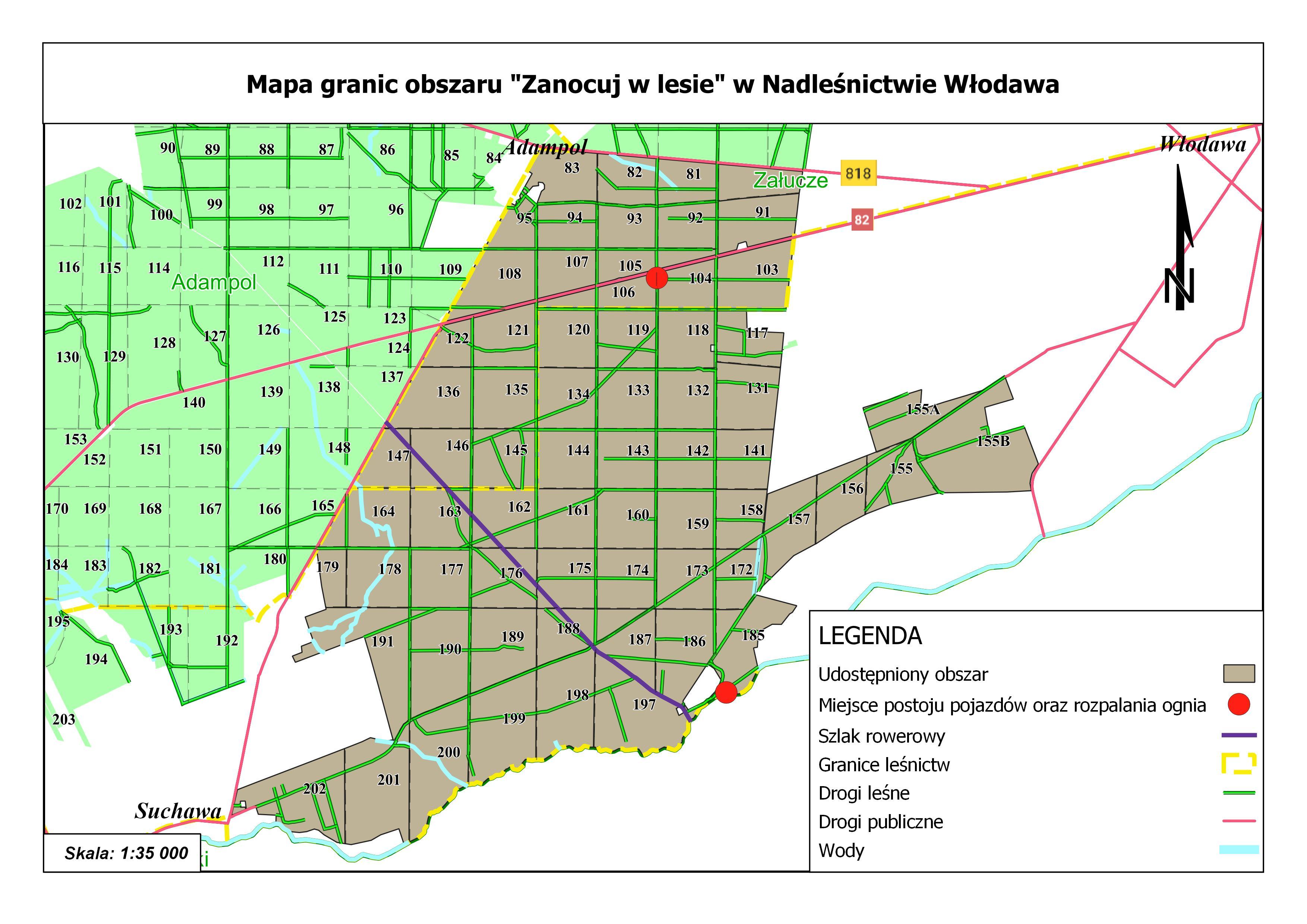 """Mapa granic obszaru """"Zanocuj w lesie"""" w Nadleśnictwie Włodawa"""