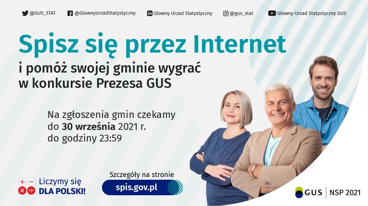 """Uśmiechnięci ludzie, napis """"Spisz się przez Internet i pomóż swojej gminie wygrać w konkursie Prezesa GUS"""""""