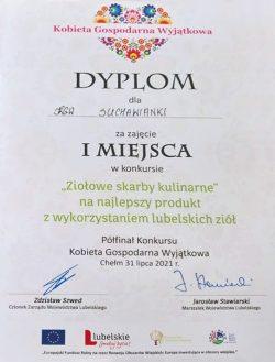 """Dyplom za zajęcie I miejsca w kategorii """"Ziołowe skarby kulinarne"""" KGW Suchawianki z Suchawy"""
