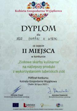 """Dyplom za zajęcie II miejsca w kategorii """"Ziołowe skarby kulinarne"""" KGW Swańki z Wyryk"""