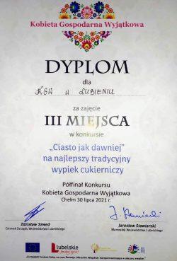 """Dyplom za zajęcie III miejsca w kategorii """"Ciasto jak dawniej"""" Koło Gospodyń Wiejskich z Lubienia"""