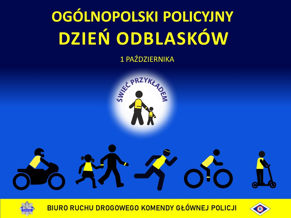 """Plakat zawiera napis """"Ogólnopolski Policyjny Dzień Odblasków"""". W środkowej części grafiki jest białe koło z granatowym napisem """"ŚWIEĆ PRZYKŁADEM"""". W środkowej części koła znajdują się czarne sylwetki starszej i młodszej osoby, które trzymają się za rękę. W dolnej części plakatu od lewej strony znajduje się: postać motocyklisty, następnie osoba dorosła z dzieckiem, biegacz, rowerzysta i osoba na hulajnodze. W dolnej części plakatu na żółtym tle znajduje się logotyp Policji oraz symbol ruchu drogowego R-ka, a także napis """"BIURO RUCHU DROGOWEGO KOMENDY GŁÓWNEJ POLICJI""""."""